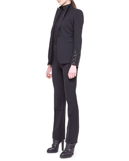 Akris punto Embellished-Sleeve Cocktail Jacket, Embellished-Edge Blouse & Francoise Twill Pants