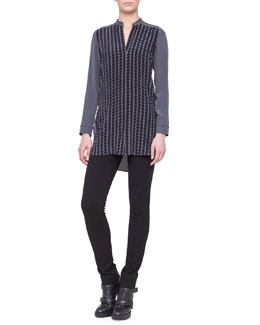 Akris punto Dot-Applique Silk Tunic and Stretch Jersey Skinny Pants