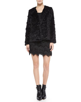 Milly Short Faux-Fur Metallic Jacket & Zigzag Tassel-Fringe Miniskirt