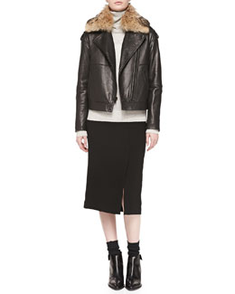 Vince  Fur-Collar Leather Jacket, Cashmere Overlay Turtleneck Sweater & Straight Knee-Length Skirt