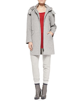 Vince Rabbit-Fur-Lined Hood Felt Coat, Crewneck Long-Sleeve Sweater & Rib-Cuff Felt Trousers