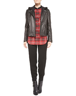 Vince Removable-Hood Lambskin Moto Jacket, Leather-Trim Plaid Shirt & Jersey Harem Pants