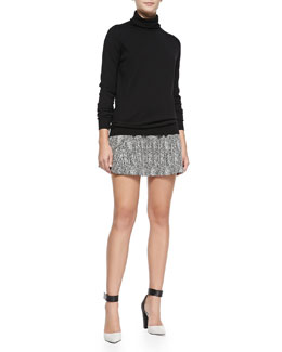 Theory Kristoff Knit Turtleneck Sweater & Doreene K Tweed Skirt