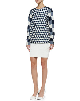 O'2nd Long-Sleeve Geometric-Print Blouse & Quilted Miniskirt w/Inverted Pleats