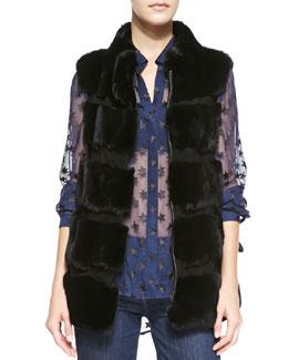 Diane von Furstenberg Funnelia Zip-Front Fur Vest & Lorelei Two Cosmic Twinkle Blouse