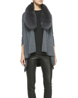 Alice + Olivia Izzy Fur Collar & Open-Front Cardigan