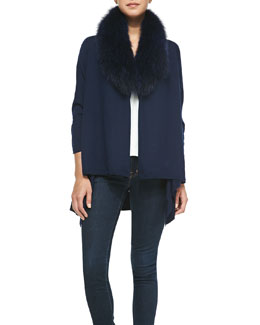Alice + Olivia Izzy Open-Front Cardigan & Fur Collar