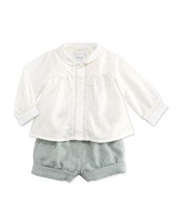 Chloe Woven Long-Sleeve Blouse & Pleated Tweed Bubble Shorts