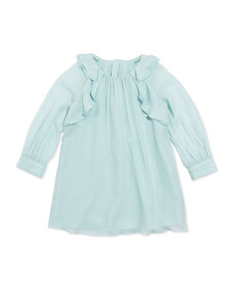 Chloe Girls' Ruffled Crepe Shift Dress