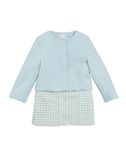 Chloe Girls' Wool Twill Crochet Two-In-One Coat, Light Blue