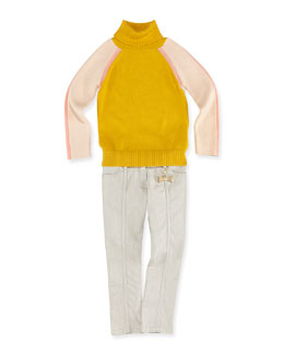 Chloe Colorblock Turtleneck Sweater & Slim-Fit Denim Jeans