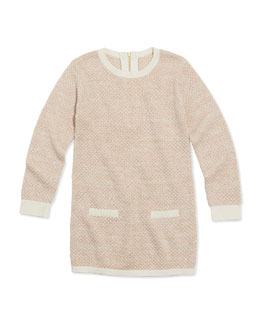 Chloe Girls' Shimmer Popcorn Knit Sweater Dress, Pink