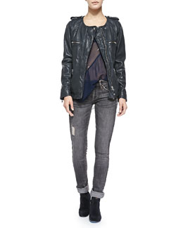 Isabel Marant Etoile Bacuri Leather Jacket, Cameron Striped Tank & Tina Destroyed Slim Jeans