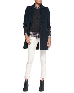 Isabel Marant Etoile Daphne Wool-Blend Coat, Rain Distressed Sweater, Ipa Plaid Top & Iti Corduroy Pants