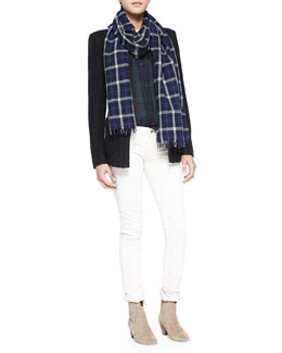 Isabel Marant Etoile Joff Wool Twill Jacket, Ipa Plaid Buttoned Top, Iti Slim Corduroy Pants & Adrian Plaid Fringe Scarf