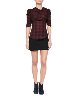Isabel Marant Etoile Ilma Ruched Plaid Top and Anais Seam-Detail Miniskirt