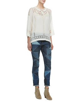 Isabel Marant Etoile Ethan 3/4-Sleeve Eyelet Top & Dillon Girlfriend Patchwork Jeans