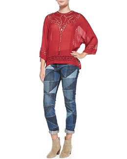 Isabel Marant Etoile Ethan Voile Eyelet Top & Dillon Girlfriend Patchwork Jeans