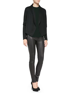 Theory Nove Open-Front Blazer Cardigan, Bringam Long Jewel-Neck Shell & Pitella Flat-Front Lambskin Leggings
