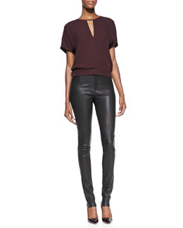 Theory Blaire Short-Sleeve Blouson Top & Pitella Flat-Front Lambskin Leggings