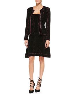 Herve Leger Theron Neon-Underlay Chenille Jacket & Luna Neon-Underlay Chenille Dress