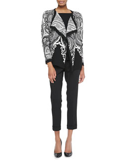 Etro Printed Flyaway Cardigan, Cap-Sleeve Peplum Top & Zip-Cuff Capri Pants
