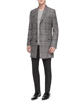 Maison Martin Margiela Glen Plaid Wool-Blend Coat, Wool/Alpaca Crewneck Sweater & Slim-Fit Wool Trousers