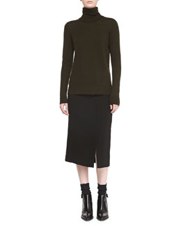 Vince Cashmere-Overlay Turtleneck Sweater & Straight Knee-Length Skirt