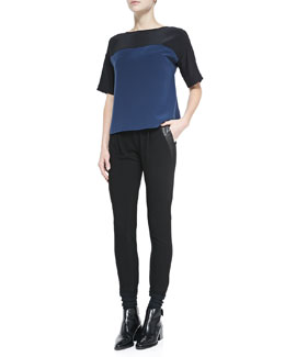 Vince Two-Tone Satin Top & Leather-Trim Relaxed Trousers