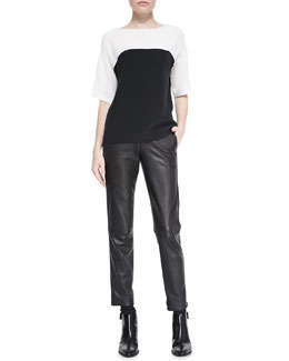 Vince Silk Colorblock Short-Sleeve Blouse & Leather-Trim Relaxed Trousers