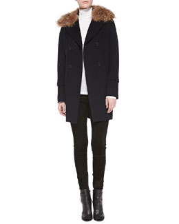 Vince Detachable Fur-Collar Pea Coat, Favorite Slim Lightweight Turtleneck & Suede Mid-Rise Leggings