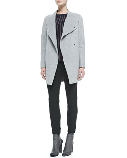 Vince Sweater-Back Drape-Neck Coat, Regimental-Stripe Crewneck Blouse & Lambskin-Trim Relax Trousers