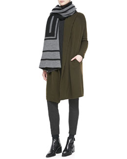 Vince Cashmere Jacquard Scarf, Car Coat Sweater, Thermal Double V-Neck Sweater & Lambskin-Trim Relaxed Trousers