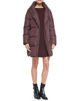 Vince Shawl-Collar Puffer Coat & Satin-Back Sweaterdress