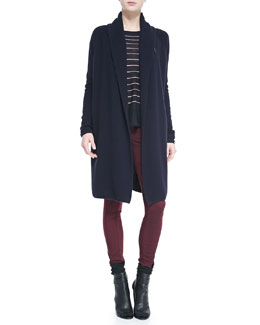 Vince Knit Car Coat Sweater, Knit Stripe Crewneck Sweater & Zip-Pocket Skinny Jeans