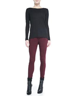 Vince Seamed-Sleeve Jersey Tee & Zip-Pocket Skinny Jeans