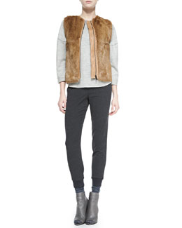 Vince Quilted Leather/Fur Zip Vest, Rolled-Sleeve Slub-Knit Top & Ribbed-Cuff Tapered Trousers