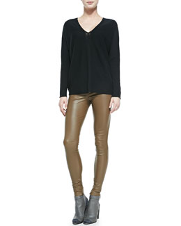 Vince Cashmere Ladder-Stitch Sweater & Leather Leggings