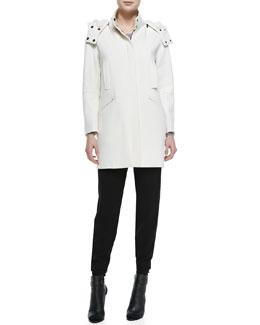 Vince Fur-Lined Hooded Coat & Jersey Harem Pants