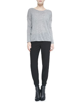 Vince Lightweight Knit Crewneck Sweater & Jersey Harem Pants