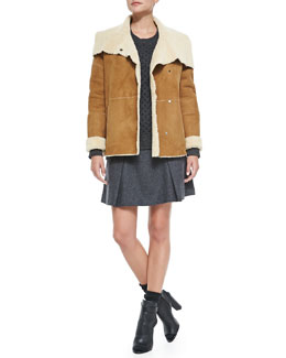 Vince Bi-Tone Lamb Shearling Jacket, Cable Knit Crewneck Sweater & Pleated Flared Wool Skirt