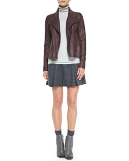 Vince Leather Scuba Jacket, Ribbed Knit Turtleneck & Pleated Flared Wool Skirt