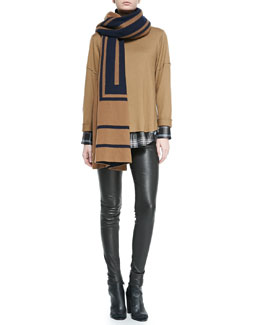 Vince Leather-Trim Plaid Shirt, Cashmere Jacquard Scarf, Wool Rolled-Sleeve Tee & Smooth Leather Leggings