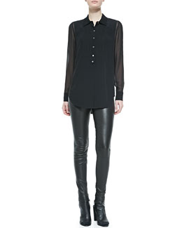 Vince Silk/Rayon Tuxedo Blouse & Smooth Leather Leggings