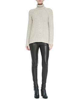 Vince Cable Knit Turtleneck Sweater & Smooth Leather Leggings