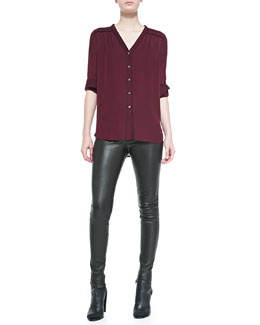 Vince Silk Contrast-Piping Blouse & Smooth Leather Leggings