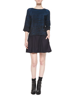 Vince Silk Striped Boat-Neck Blouse & Pleated Flared Wool Skirt