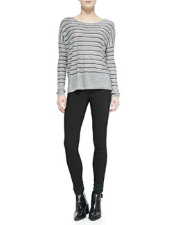 Vince Striped Crewneck Sweater & Zip-Pocket Skinny-Leg Jeans