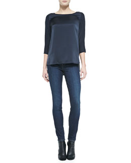 Vince Silk Button 3/4-Sleeve Blouse & Dylan Skinny Jeans