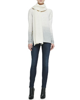 Vince Knit Thermal Scarf, Striped Jersey Boat-Neck Tee & Dylan Skinny Jeans
